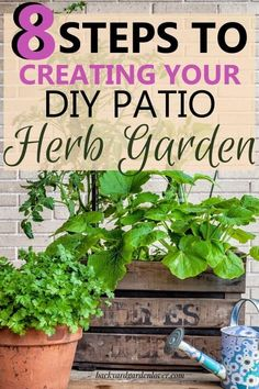 Is your garden space limited? You can create a nice patio herb garden and enjoy cooking with herbs just like anyone with a bigger garden. #diygarden #herbgarden #patiogarden #patioherbgarden