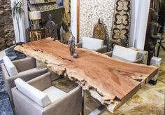 36 Gorgeous Unique Wooden Dining Tables Design Ideas - Page 13 of 36 Wooden Dining Table Designs, Wooden Dining Tables, Timber Furniture, Furniture Design, Rustic Bench, Home Board, Kitchen Design, Interior Decorating, Home Decor