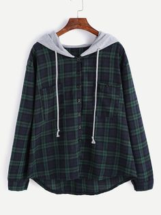 Plus Pocket Plaid Drawstring Hooded Blouse Hoodie Sweatshirts, Hoody, Plaid Hoodie, Hooded Flannel, Mode Chanel, Vetement Fashion, Sweat Shirt, Mode Inspiration, Mode Style