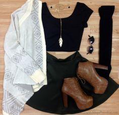 #fallfashion priceless, booties, cardi, crop top, knee high socks, skater skirt, cozy and warm #ootd #shoppriceless