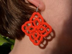 red crochet earrings, textile cotton jewelry, handmade romantic diamond earrings, bijoux crochet, lace dangle earrings