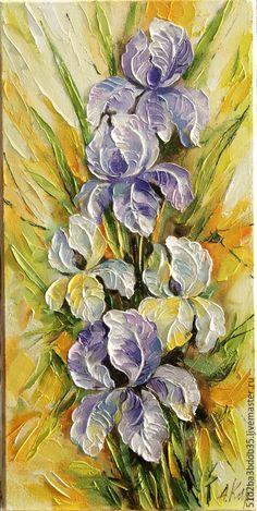 Oil painting | Купить Ирисы - разноцветный, картина, картина в подарок, картина для интерьера, картина маслом, цветы, ирисы