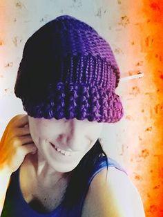 Loom knitted visor beanie by Vera M.