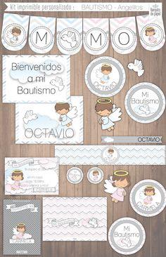 ANGELITOS BAUTISMO · kit imprimible personalizado · candy bar