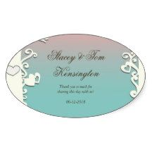 Love Birds Forever on Pastel Pink & Blue Oval Stickers