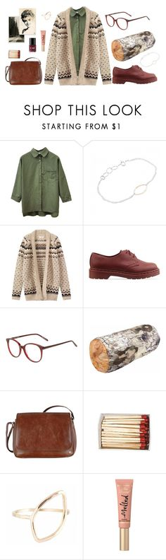 """""""Twin Peaks: Log Lady"""" by limbojewelry ❤ liked on Polyvore featuring Toast, Dr. Martens, BLACK EYEWEAR, Kikkerland, Tula, Too Faced Cosmetics, Crabtree & Evelyn and vintage"""