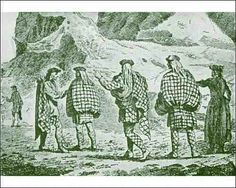 Highlanders in various attire.  Belted plaid & short hose, feilibeg (small kilt) with plaid wrapped round body. Belted plaid & trews.