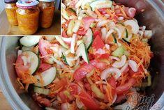Čas přípravy: 35 min Čas vaření: 5 min SUROVINY 1 kg zelená paprika 2 kg paradaka 1 kg okurka 1 kg m Home Canning, Preserves, Pickles, Salsa, Buffet, Cabbage, Food And Drink, Vegetables, Cooking