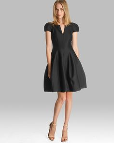HALSTON HERITAGE Dress - Short Sleeve Notched Neck Tulip Skirt | Bloomingdale's