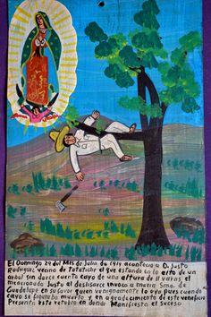 Retablo en agradecimiento a Virgen de Guadalupe tras salvarse de fatal caída.