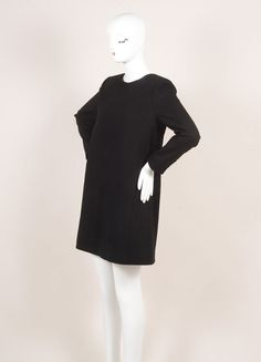 New With Tags Black Wool Knit Oversized Long Sleeve Shift Dress