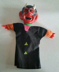 VINTAGE DEVIL HAND PUPPET DEMON SATAN THEATER SHOW CHARACTER TOY #Unbranded
