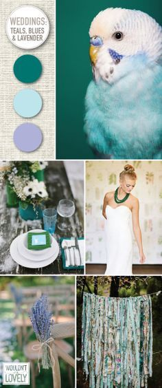 Teal, blue, emerald and lavender wedding palette. Wedding color palette inspiration. Wouldn't it be Lovely