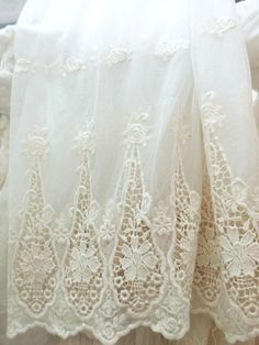 ivory embroidered tulle lace fabric scalloped lace by LaceFun