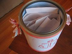 This is what I classify as the 6th Element: Special Touches. These are notes left by friends for the birthday boy or girl to read when they get older. This is truly something from the heart!  You can customize the container to easily fit your baby's 1st birthday theme!  For more party ideas visit www.YouCanPlanAParty.TV.
