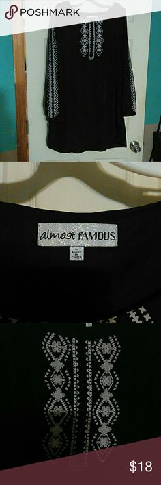 Almost Famous Dress Almost Famous Black Dress long sleeve mid thigh Almost Famous Dresses Long Sleeve