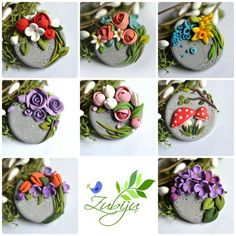 Martisoare - polymer clay brooch by Zubiju (flower ornaments polymer clay) Polymer Clay Flowers, Fimo Clay, Polymer Clay Charms, Polymer Clay Projects, Polymer Clay Creations, Polymer Clay Art, Clay Crafts, Polymer Clay Jewelry, Polymer Clay Embroidery