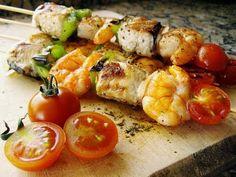 Recetas Dukan Ataque: Brochetas Thai de pescado y langostinos / Dukan Fish Kebabs