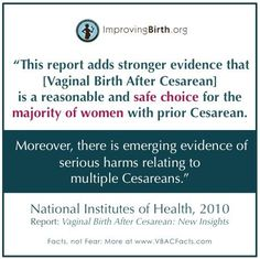 With these facts, why are only 10% of American women birthing vaginally after a previous Cesarean (based on 12/13 data)? Are your friends and family aware of this 2010 NIH report?  Facts, not fear! Get the facts from one of favorite #vbac resources. http://vbacfacts.com #truthaboutbirth