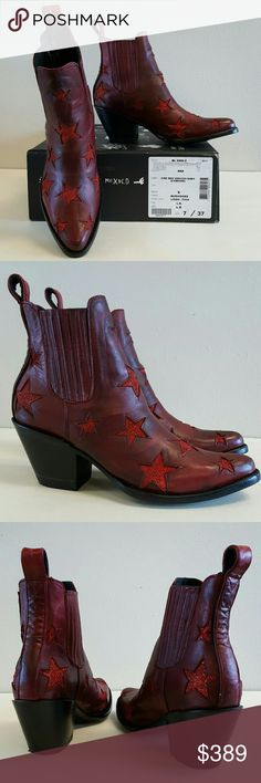 NEW Free People Reach For The Stars Ankle Boots 7 Brand new, never worn, in box. Free People Reach For The Stars Ankle Boots in Red. These boots are soooo awesome! Dark red crinkled genuine leather background with shimmering red star cut-outs all over. Made by Mexicana, which is Old Gringo's European division. The actual style name is Circus. These are marked size EURO 37, US women's size 7, but I found them to run big like a lot of cowboy boots do so I definitely think these could fit a…
