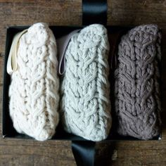 cable knitted lavender bags (looked like phone cases in the thumbnail) ^_^