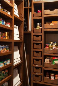 walk in pantry. lips on shelves so stuff doesn't come crashing off at you. Metal baskets hanging in one section for fresh produce.