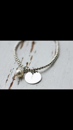 Custom Sterling Silver 3mm Bead Bracelet with a hand stamped disc and a freshwater pearl bracelet order at www.Facebook.com/CoreyTreacyDesigns Freshwater Pearl Bracelet, Hand Stamped, Beaded Bracelets, Pendant Necklace, Pearls, Facebook, Sterling Silver, Beautiful, Jewelry