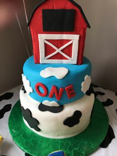 Barnyard themed first birthday cake by Sweet Blessings by Lou!
