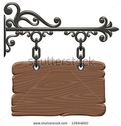 Illustration about Blank vintage wooden signboard (Vector). Illustration of decoration, frame, banner - 5282168 Wrought Iron Decor, 3d Cnc, Iron Gates, Hanging Signs, Scroll Saw, Shop Signs, Blacksmithing, Metal Art, Stationary