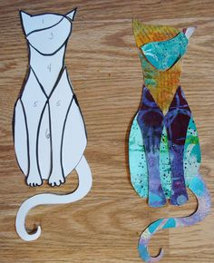 Welcome to 2016 everyone! I've decided to start out the… Welcome to 2016 everyone! I've decided to start out the year again with another piece of cat art, since my cat tutori… Cat Quilt Patterns, Applique Patterns, Applique Quilts, Art Therapy Projects, Art Projects, Sewing Projects, Diy Art, Cat Template, Templates