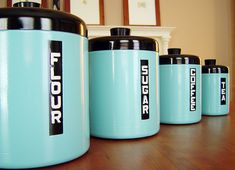Retro Turquoise kitchen canisters - Mid Century style