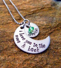 I love you to the moon & back - Moon with Name Disc and Birthstone - Personalized Necklace - Mother's Necklace