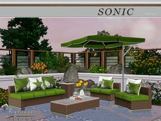 Appropriate for interior or exterior spaces, the Sonic Patio furniture set lends rich color and texture to any contemporary home.  Found in TSR Category 'Sims 3 Garden Sets'