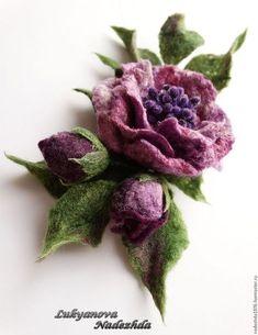 """Brooch made of wool """"Lilac fog"""". Felted Wool Crafts, Felt Crafts, Nuno Felting, Needle Felting, Felt Flowers, Fabric Flowers, Diy Fleur, Ribbon Art, Creation Couture"""