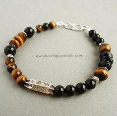 Gemstone Bracelet for Men - Black Onyx, Tiger Eye, Hill Tribe Silver