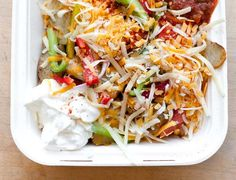 irish potato nachos ~ well we tried this and it actually is really good and you can dress it up so many ways.