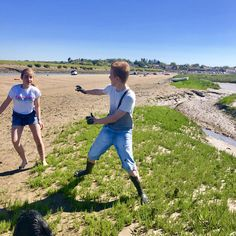 Kids having fun at Overy Harbour at low water, my son chased my daughter with his muddy hands, she wasn't terribly impressed!! Book your dog and child friendly holiday in North Norfolk now - link in bio