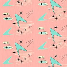 Mid Century Fabric - Atomic Boomerang Starburst - Pale Pink By Lillierioux - Modern Geometric Cotton Fabric By The Yard With Spoonflower Mid Century Art, Mid Century Modern Design, Mid Century Style, Mid Century Modern Fabric, Creation Image, Motifs Textiles, Retro Wallpaper, Wallpaper Ideas, Fabric Wallpaper