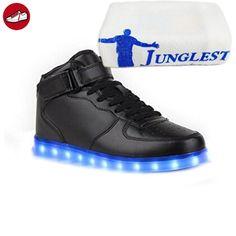 [Present:kleines Handtuch]Weiß EU 45, Leuchtend Unisex-Erwachsene Schuhe High JUNGLEST® USB Aufladen für Top weise LED Kinder 7 Sportschuhe Turnschuhe Sp
