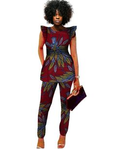 Material: Cotton Sleeve Length (cm): Sleeveless Style: Casual Closure Type: None Decoration: Pattern Collar: O-Neck Sleeve Style: Flare Sleeve Pant Closure Type: Zipper Fly Clothing Length: Regular Pattern Type: Print Pant Length (cm): Ankle-Length Pants Gender: Women Type: Dashiki