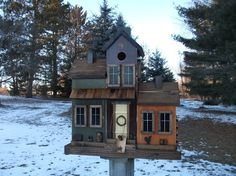 Folk Art Primitive Antique Red...Harvest Gold and Olive Green Saltbox-House Birdhouse Country Covered-Porch Look!!