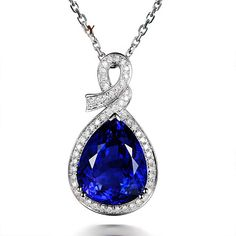Classic 11.8ct Natural Blue Tanzanite in 18K Gold Pendant by CHARMES Jewellery