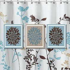 Modern Floral Flower Flourish Burst Blue Tan Sepia Bathroom Decor Wall Art Artwork Set of 3 Trio Bath Prints Home Decor Picture Crib Bedding...