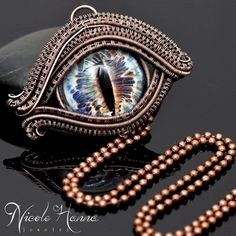 Wire Wrap Dragon Eye Pendant, Blue Eyes