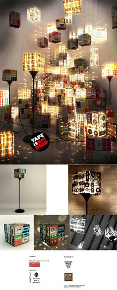 recycle those old cassette tapes into a tape lamp!