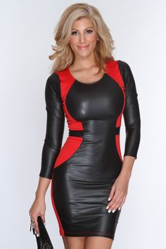When the night falls, your date will fall for the girl in this gorgeous dress! This evening will enchant you with a romantic dinner and starlit dancing in this beautiful dress. Featuring scoop neckline,long sleeves, faux leather trim, stitching detail, fitted, and above the knee length. 90% Polyester 10% Spandex Made in USA
