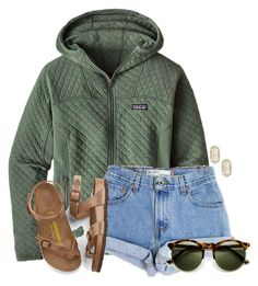 """~cool morning~"" by flroasburn ❤ liked on Polyvore featuring Patagonia, Levi's, Birkenstock and Kendra Scott"