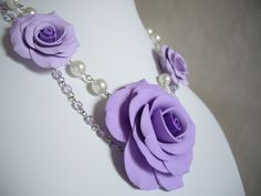 Polymer clay nacklace, Lilac rose necklace, Polymer clay floral necklace, Polymer clay rose, Pearl necklace, Handmade necklace