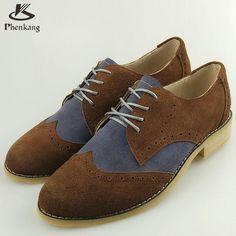 2016 Del cuero Genuino de gran tamaño de la mujer 11 del diseñador de la vendimia plana zapatos de punta redonda hecha a mano gris marrón oxford zapatos para mujeres de piel