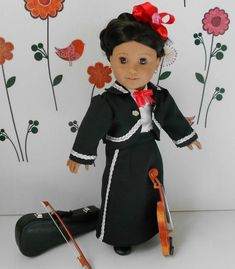 Custom Order Mariachi charra suit traje black gabardine silver trim for American Girl doll 18 in Folklorico Dresses, Mariachi Suit, Boy Doll Clothes, Mexican Blouse, So Creative, Blouse Dress, 18 Inch Doll, Girl Outfits, Suits